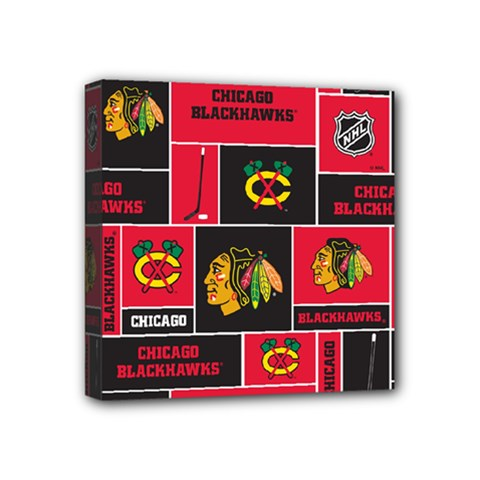 Chicago Blackhawks Nhl Block Fleece Fabric Mini Canvas 4  x 4