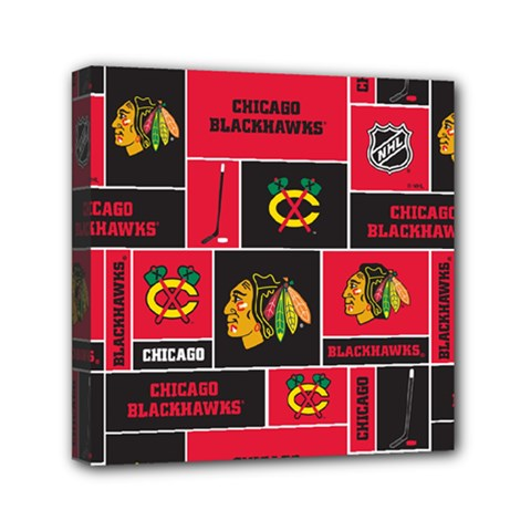 Chicago Blackhawks Nhl Block Fleece Fabric Mini Canvas 6  x 6