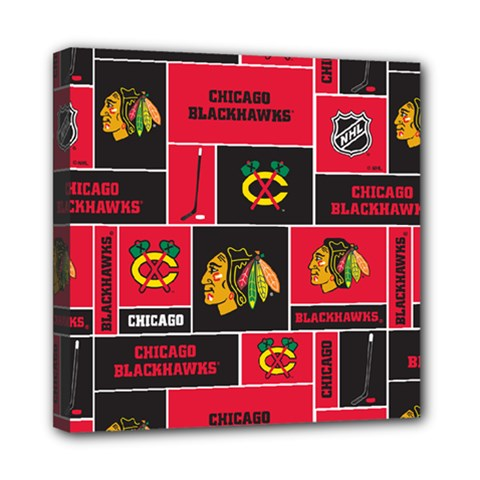 Chicago Blackhawks Nhl Block Fleece Fabric Mini Canvas 8  x 8