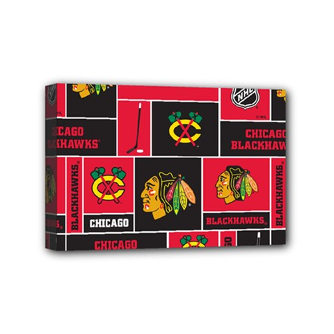 Chicago Blackhawks Nhl Block Fleece Fabric Mini Canvas 6  x 4