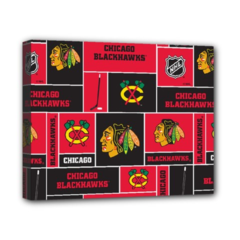 Chicago Blackhawks Nhl Block Fleece Fabric Canvas 10  x 8