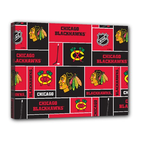 Chicago Blackhawks Nhl Block Fleece Fabric Canvas 14  x 11