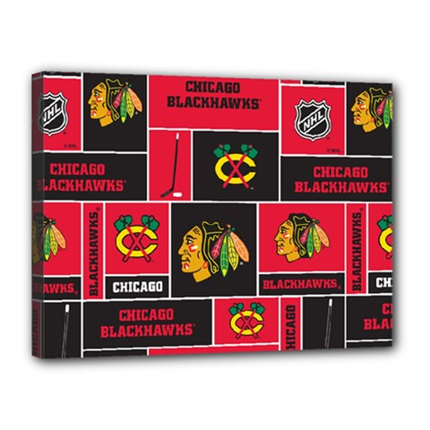 Chicago Blackhawks Nhl Block Fleece Fabric Canvas 16  x 12