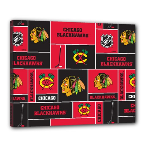 Chicago Blackhawks Nhl Block Fleece Fabric Canvas 20  x 16