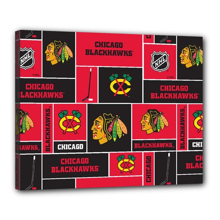 Chicago Blackhawks Nhl Block Fleece Fabric Canvas 20  x 16