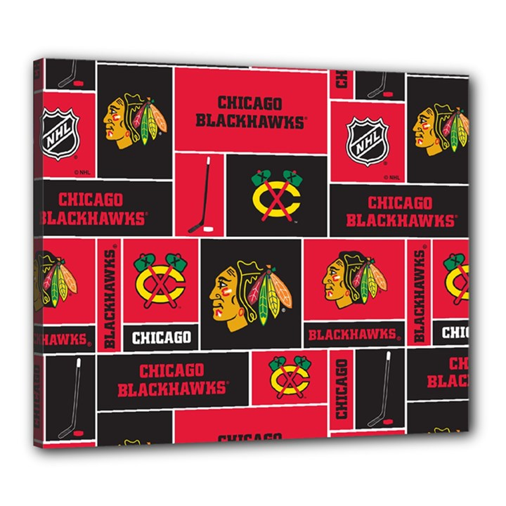Chicago Blackhawks Nhl Block Fleece Fabric Canvas 24  x 20