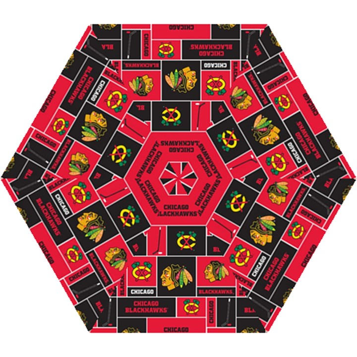 Chicago Blackhawks Nhl Block Fleece Fabric Mini Folding Umbrellas