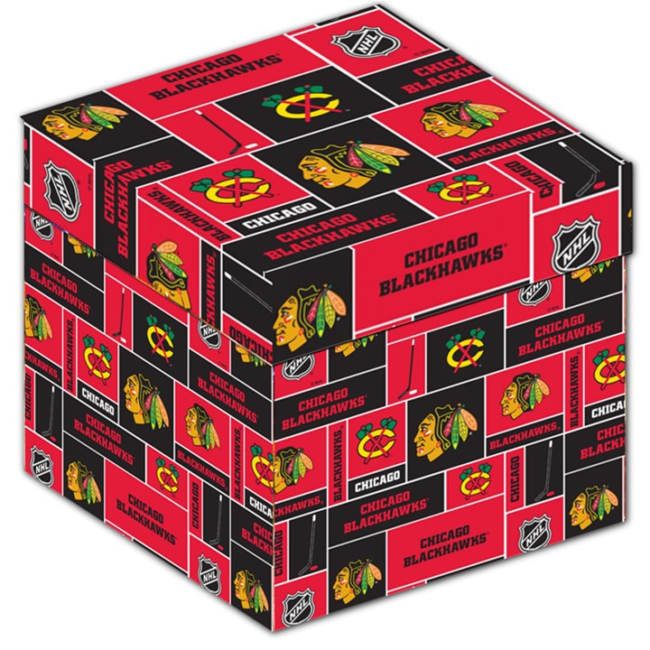 Chicago Blackhawks Nhl Block Fleece Fabric Storage Stool 12