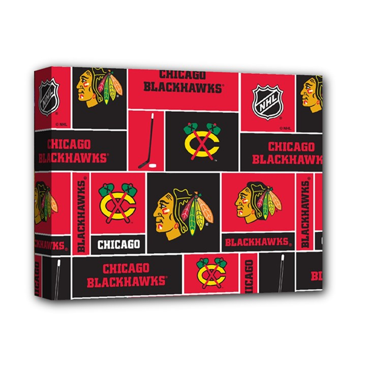 Chicago Blackhawks Nhl Block Fleece Fabric Deluxe Canvas 14  x 11