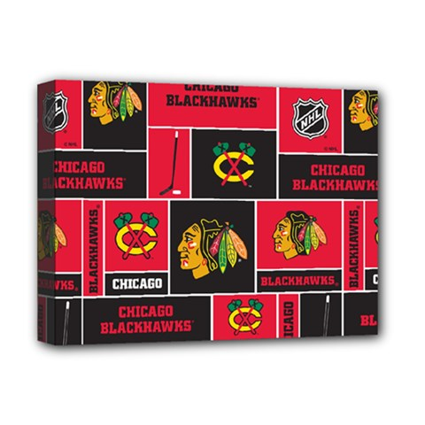 Chicago Blackhawks Nhl Block Fleece Fabric Deluxe Canvas 16  x 12