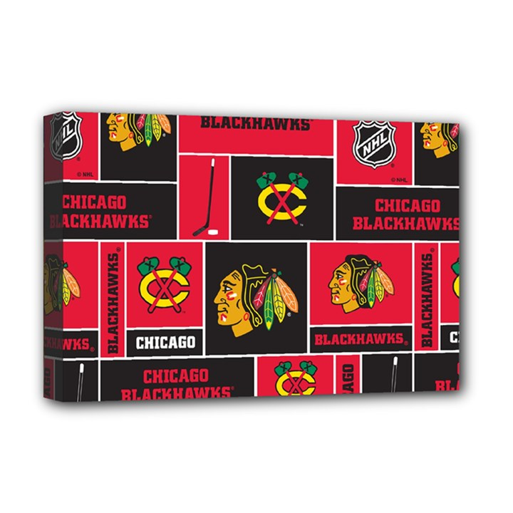 Chicago Blackhawks Nhl Block Fleece Fabric Deluxe Canvas 18  x 12