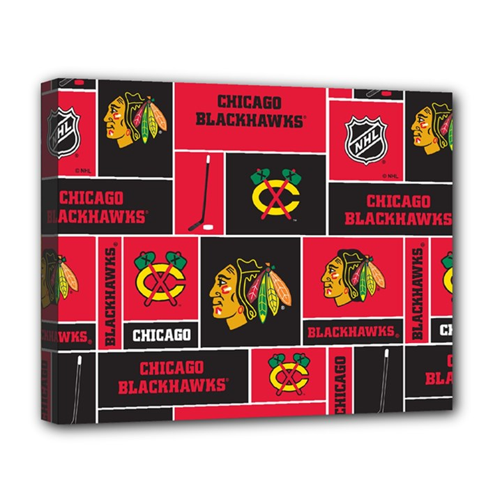 Chicago Blackhawks Nhl Block Fleece Fabric Deluxe Canvas 20  x 16