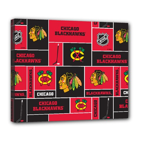 Chicago Blackhawks Nhl Block Fleece Fabric Deluxe Canvas 24  X 20