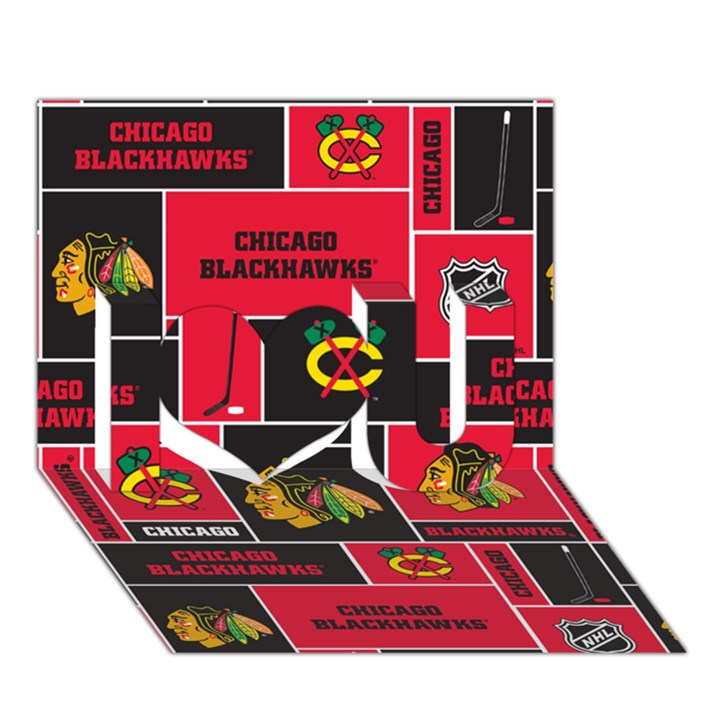 Chicago Blackhawks Nhl Block Fleece Fabric I Love You 3D Greeting Card (7x5)
