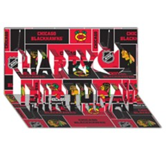 Chicago Blackhawks Nhl Block Fleece Fabric Happy Birthday 3D Greeting Card (8x4)