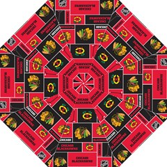 Chicago Blackhawks Nhl Block Fleece Fabric Hook Handle Umbrellas (Large)