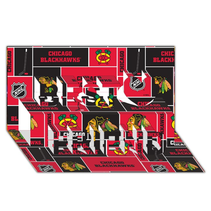 Chicago Blackhawks Nhl Block Fleece Fabric Best Friends 3D Greeting Card (8x4)