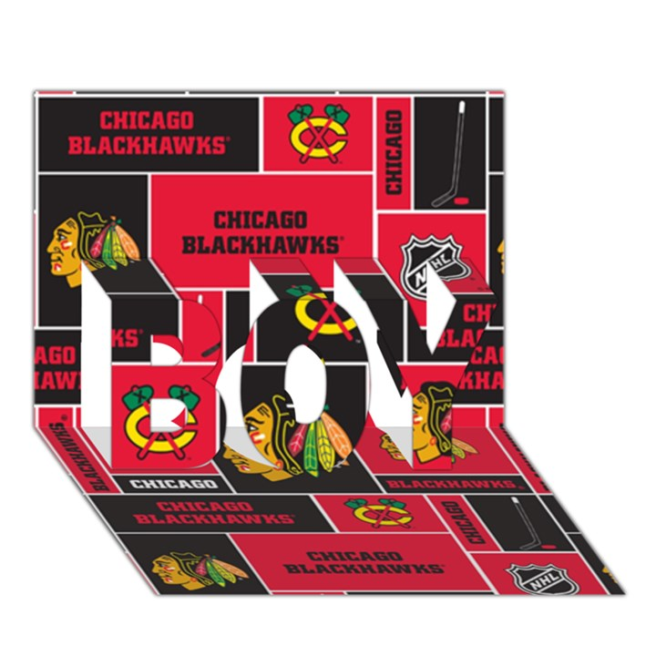 Chicago Blackhawks Nhl Block Fleece Fabric BOY 3D Greeting Card (7x5)