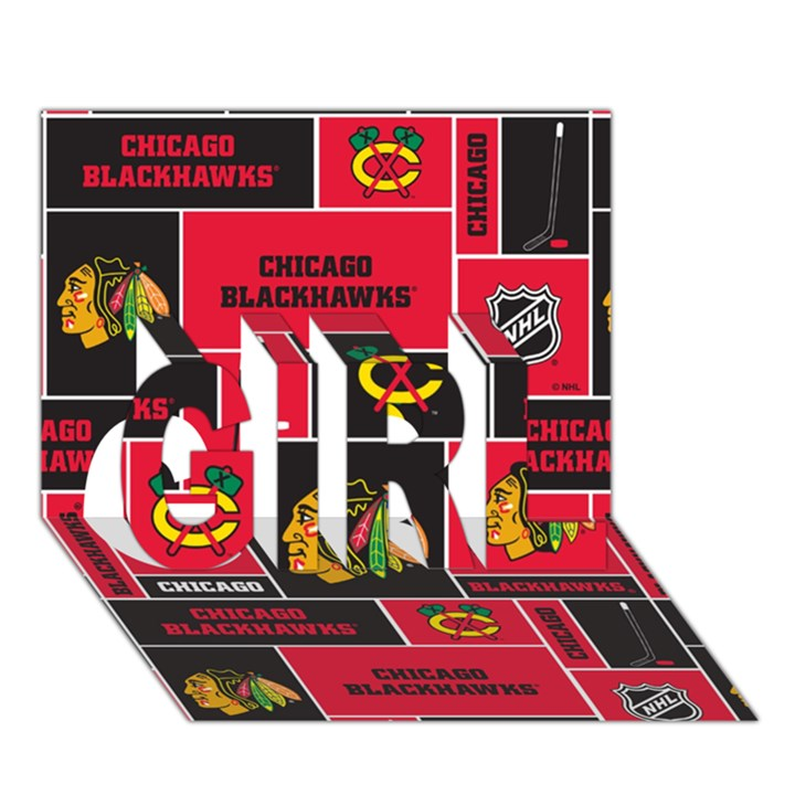 Chicago Blackhawks Nhl Block Fleece Fabric GIRL 3D Greeting Card (7x5)