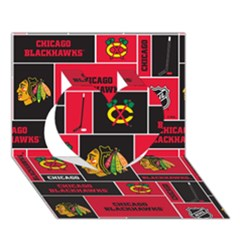 Chicago Blackhawks Nhl Block Fleece Fabric Heart 3d Greeting Card (7x5)