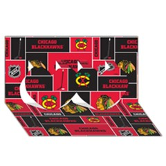 Chicago Blackhawks Nhl Block Fleece Fabric Twin Hearts 3D Greeting Card (8x4)