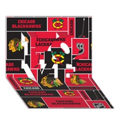 Chicago Blackhawks Nhl Block Fleece Fabric Love 3d Greeting Card (7x5)