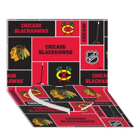 Chicago Blackhawks Nhl Block Fleece Fabric Heart Bottom 3D Greeting Card (7x5)