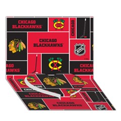 Chicago Blackhawks Nhl Block Fleece Fabric Heart Bottom 3D Greeting Card (7x5)