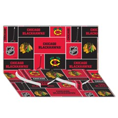 Chicago Blackhawks Nhl Block Fleece Fabric Twin Heart Bottom 3D Greeting Card (8x4)