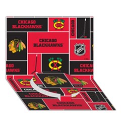 Chicago Blackhawks Nhl Block Fleece Fabric Circle Bottom 3d Greeting Card (7x5)