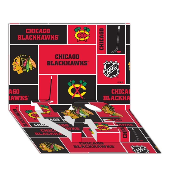 Chicago Blackhawks Nhl Block Fleece Fabric LOVE Bottom 3D Greeting Card (7x5)