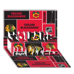 Chicago Blackhawks Nhl Block Fleece Fabric YOU ARE INVITED 3D Greeting Card (7x5)