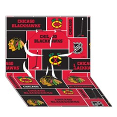 Chicago Blackhawks Nhl Block Fleece Fabric Clover 3D Greeting Card (7x5)