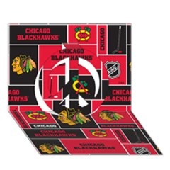 Chicago Blackhawks Nhl Block Fleece Fabric Peace Sign 3D Greeting Card (7x5)