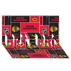 Chicago Blackhawks Nhl Block Fleece Fabric BEST BRO 3D Greeting Card (8x4)