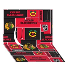 Chicago Blackhawks Nhl Block Fleece Fabric Circle 3d Greeting Card (7x5)