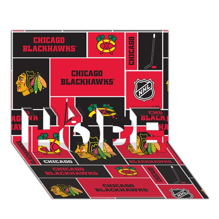 Chicago Blackhawks Nhl Block Fleece Fabric HOPE 3D Greeting Card (7x5)