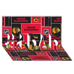 Chicago Blackhawks Nhl Block Fleece Fabric #1 DAD 3D Greeting Card (8x4)