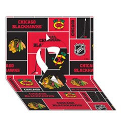 Chicago Blackhawks Nhl Block Fleece Fabric Ribbon 3D Greeting Card (7x5)