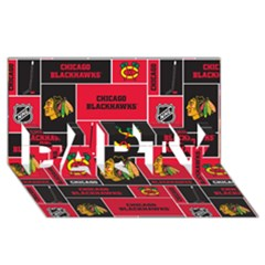 Chicago Blackhawks Nhl Block Fleece Fabric PARTY 3D Greeting Card (8x4)