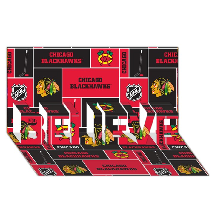 Chicago Blackhawks Nhl Block Fleece Fabric BELIEVE 3D Greeting Card (8x4)