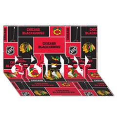 Chicago Blackhawks Nhl Block Fleece Fabric Sorry 3d Greeting Card (8x4)