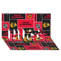 Chicago Blackhawks Nhl Block Fleece Fabric HUGS 3D Greeting Card (8x4)