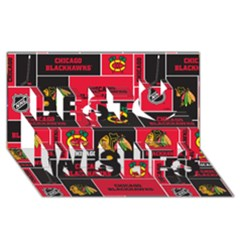 Chicago Blackhawks Nhl Block Fleece Fabric Best Wish 3D Greeting Card (8x4)