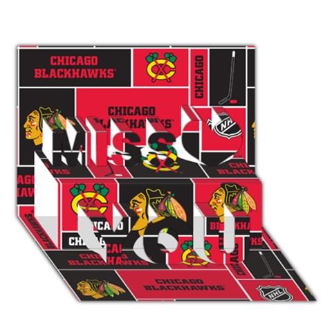 Chicago Blackhawks Nhl Block Fleece Fabric Miss You 3D Greeting Card (7x5)
