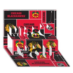 Chicago Blackhawks Nhl Block Fleece Fabric Miss You 3D Greeting Card (7x5)