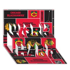 Chicago Blackhawks Nhl Block Fleece Fabric Work Hard 3d Greeting Card (7x5)