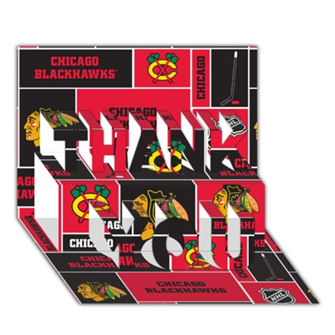 Chicago Blackhawks Nhl Block Fleece Fabric THANK YOU 3D Greeting Card (7x5)