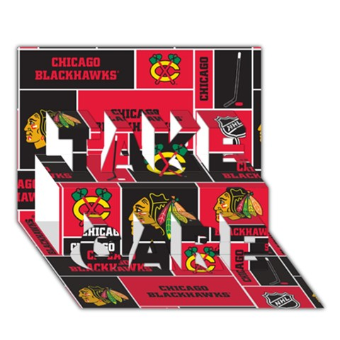 Chicago Blackhawks Nhl Block Fleece Fabric TAKE CARE 3D Greeting Card (7x5)