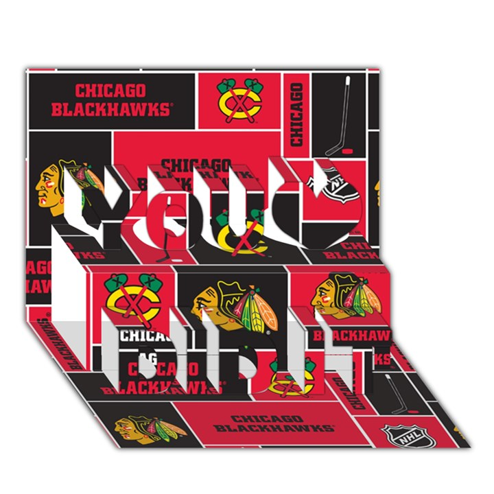 Chicago Blackhawks Nhl Block Fleece Fabric You Did It 3D Greeting Card (7x5)